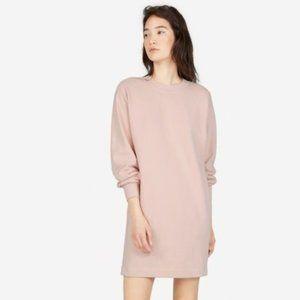 Everlane French Terry Crew Sweatshirt Dress Pink